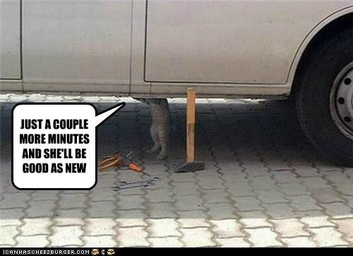 caption,captioned,car,cat,couple,fixing,good,mechanic,minutes,more,new,repairing