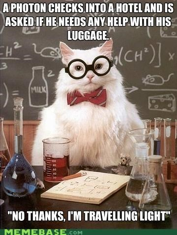 animemes,chemistry cat,light,luggage,particle,photon,science,wave