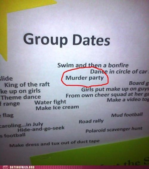 date ideas group dates murder sign We Are Dating - 5203606784