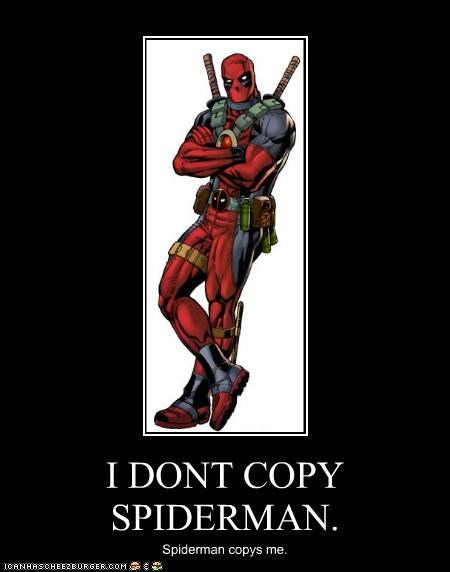 copy cat,deadpool,Spider-Man,Super-Lols