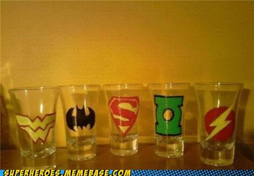 batman,flash,Green lantern,Random Heroics,shot glasses,superheroes,superman,wonder woman