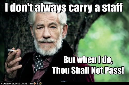 I don't always carry a staff But when I do, Thou Shall Not Pass!
