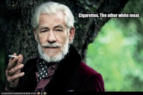 actors cigarettes meat roflrazzi Sir Ian McKellen smoking the other white meat white meat - 5204806912
