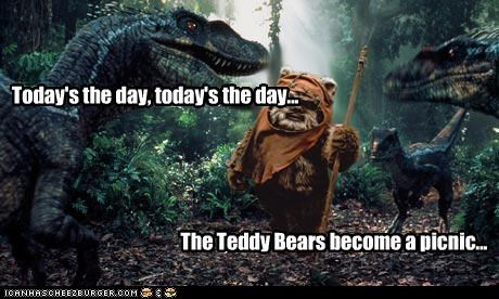 dinosaurs ewoks jurassic park photoshopped picnics roflrazzi star wars teddybears velociraptors - 5204926208
