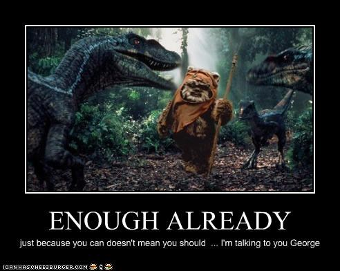 demotivational ewok funny jurassic park Movie sci fi shoop star wars velociraptor - 5205125888