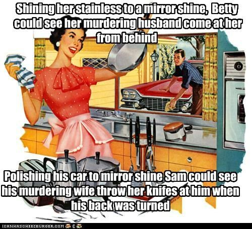 Shining her stainless to a mirror shine, Betty could see her murdering husband come at her from behind Polishing his car to mirror shine Sam could see his murdering wife throw her knifes at him when his back was turned