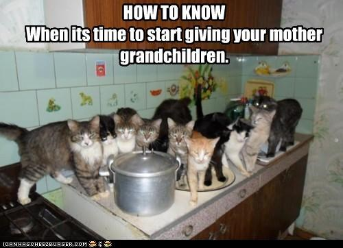 HOW TO KNOW When its time to start giving your mother grandchildren.
