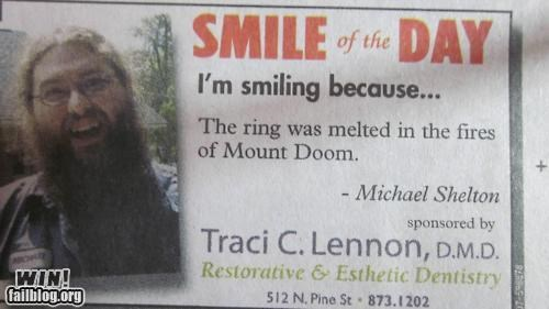 advertisement,happy,Lord of the Rings,mount doom,nerd,nerdgasm,newspaper,smile,the ring