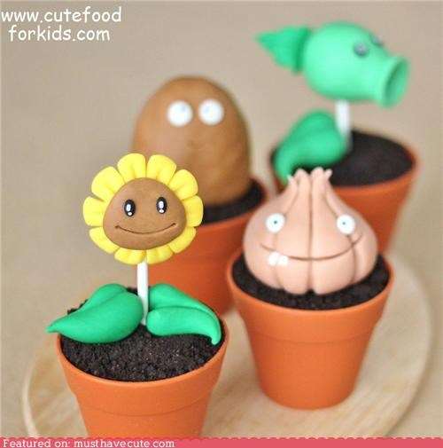 cupcakes,dirt,epicute,faces,fondant,plants,plants vs zombies,pots