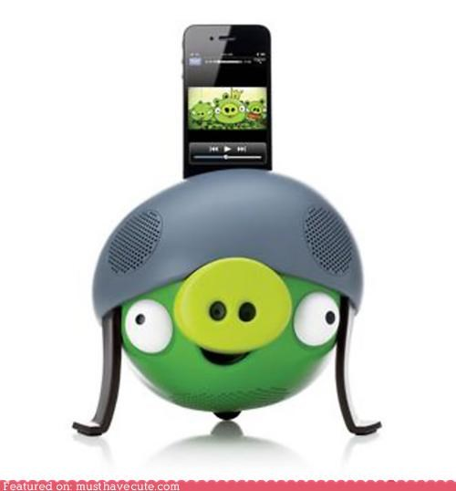 angry birds,dock,electronics,helmet,iphone,ipod,pig,speaker