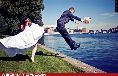 bride funny wedding photos groom kick - 5206485248