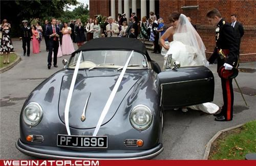 mechanic,bride,cars,funny wedding photos,porsche,volkswagon