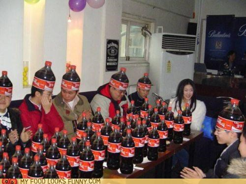 bottles coke cola hats jugs
