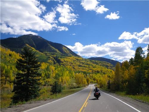 clouds,Colorado,getaways,motorcycle,mountains,north america,riding,road,trees,united states,user submitted
