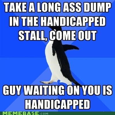 bathroom dump handicapped restroom socially awkward penguin stall