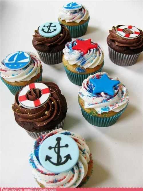 anchors boating cupcakes epicute life preservers nautical sailing stars