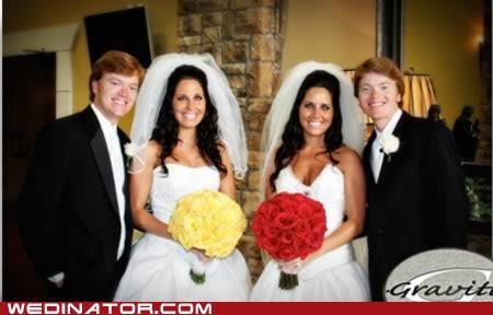 funny wedding photos,identical twins