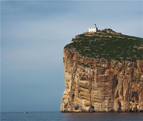 Capocaccia Lighthouse,cliff,europe,getaways,island,Italy,lighthouse,ocean,sardinia
