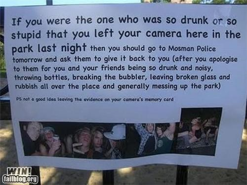 camera,drunks,evidence,lost,noise,park,Party,phone,revenge,sign