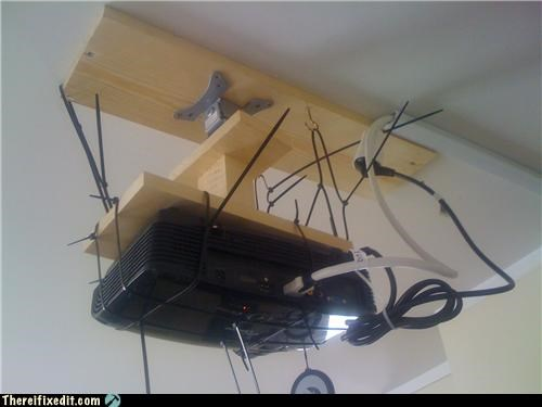 holding it up,office supplies,projector,Shaky Support Systems,zip ties