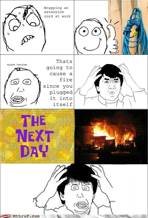 comic,extension cord,fire,rage comic