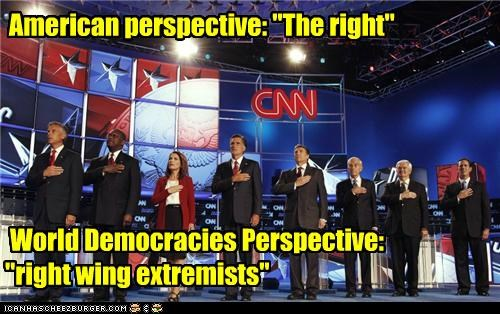 "American perspective: ""The right"" World Democracies Perspective: ""right wing extremists"""