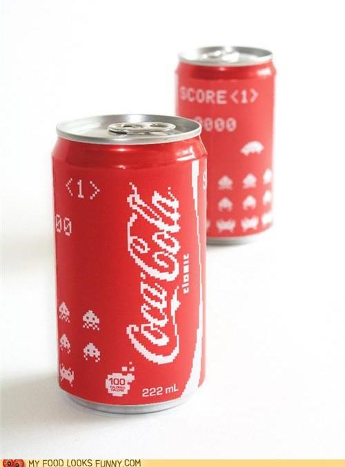 can,coke,design,pixelated,space invaders