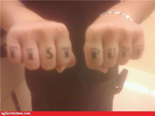knuckle tats,words