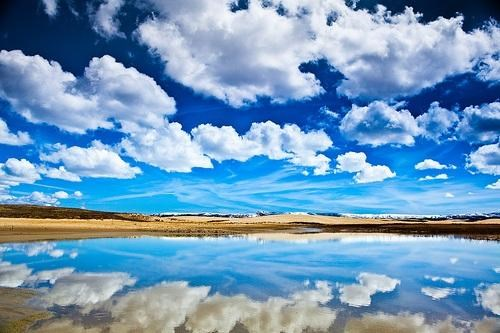 blue,clouds,getaways,horizon,lake,reflection,unknown location,user submitted,water