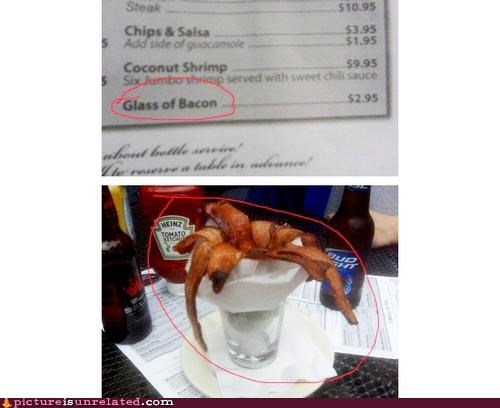 bacon,glass,restaurant,wtf