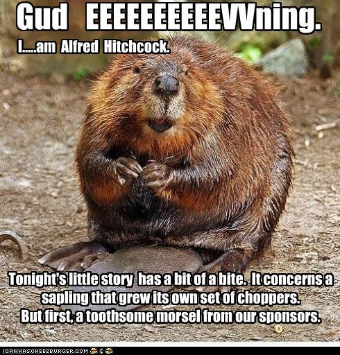 Tonight's little story has a bit of a bite. It concerns a sapling that grew its own set of choppers. But first, a toothsome morsel from our sponsors. Gud EEEEEEEEEEVVning. I.....am Alfred Hitchcock.