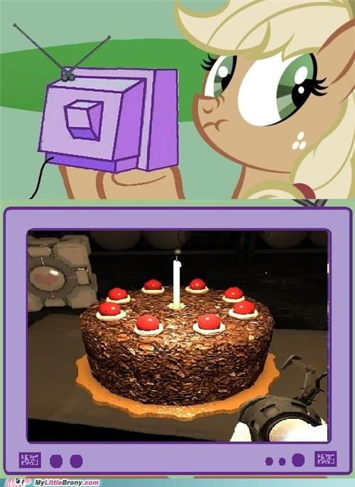 applejack,holding things,lying applejack,meme,Portal,the cake is a lie