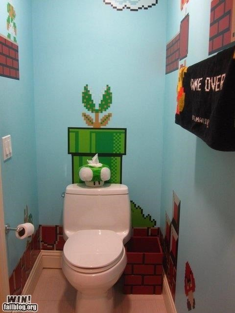 bathroom,design,Hall of Fame,home,mario,nerdgasm,nintendo,Super Mario bros