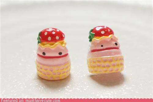 accessories cake dessert earrings Jewelry s tuds strawberry - 5216397056
