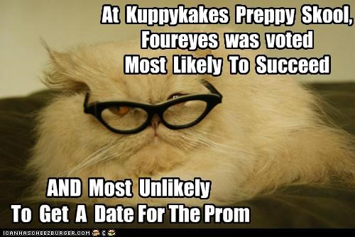 At Kuppykakes Preppy Skool, Foureyes was voted Most Likely To Succeed AND Most Unlikely To Get A Date For The Prom