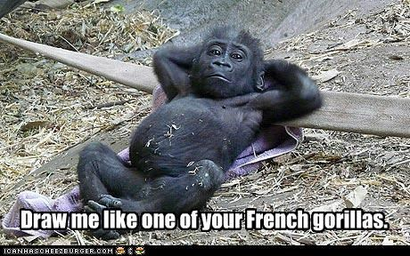 animals draw me french girls gorillas I Can Has Cheezburger relaxing - 5216594688