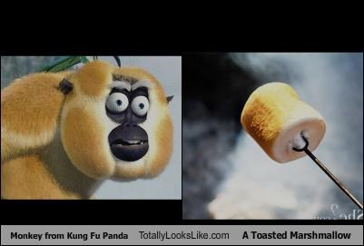 animated,animation,Kung Fu Panda,marshmallow,monkey,Movie,toasted marshmallow