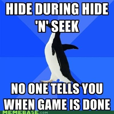 done,friends,game,hide and seek,socially awkward penguin,time