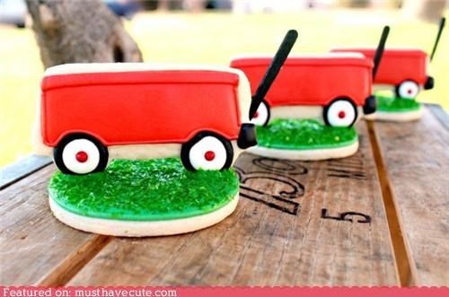 cookies,epicute,grass,icing,red,sprinkles,wagon