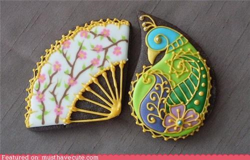 bird cookies epicute fan icing intricate peacock