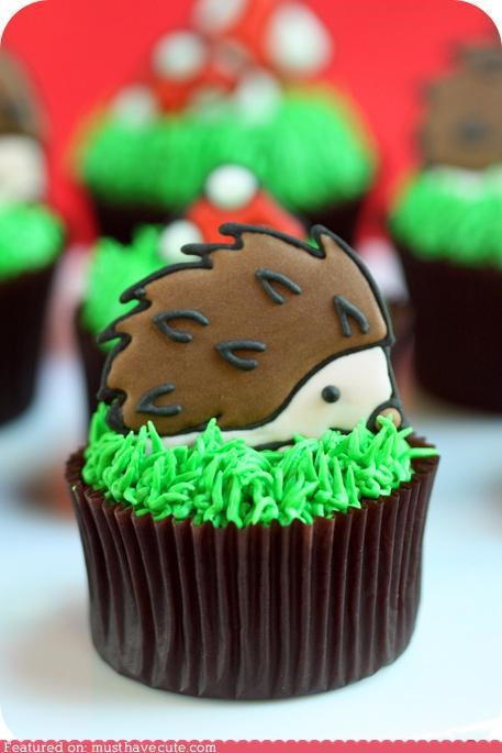 cookies cupcake epicute frosting grass hedgehog icing - 5218148096