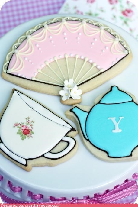 cookies cute epicute fan tea tea cup tea pot - 5218148864