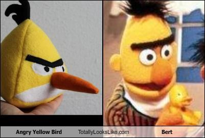 angry birds,bert,bert and ernie,Sesame Street,unibrow,yellow bird