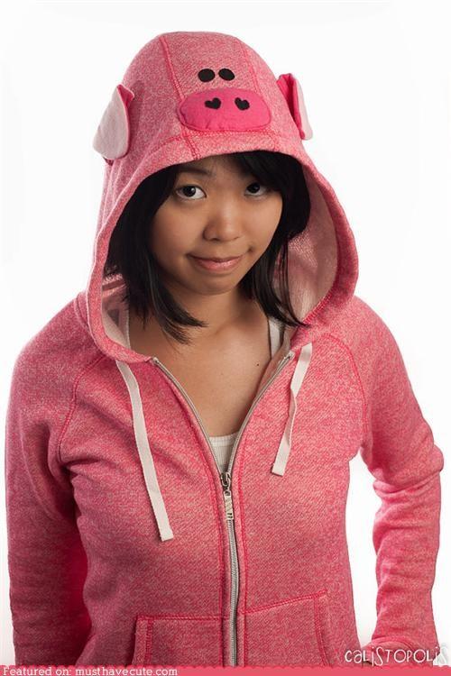 applique ears face hood hoodie pig pink - 5219093504