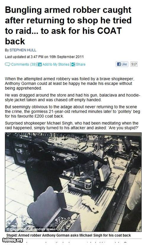 clothes failboat Probably bad News robbery stupid criminals stupidity - 5219151360