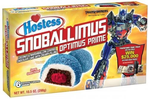 food hostess movies optimus prime product tie-ins Shockwave snack cakes snoballimus transformers Transformers dark of the moon