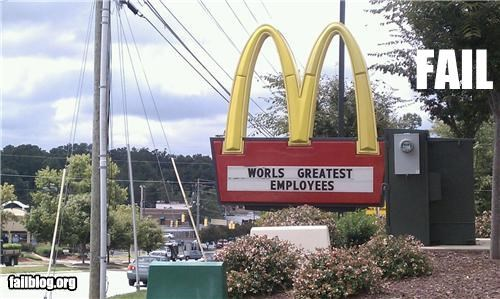 failboat fast food g rated McDonald's signs spelling typos