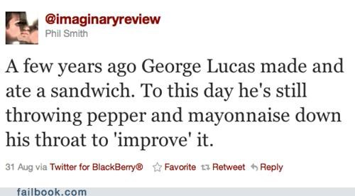 george lucas,improvements,sandwich,star wars,twitter