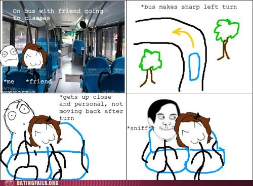 bus,comic,rage comic,smelling,sniffing,We Are Dating