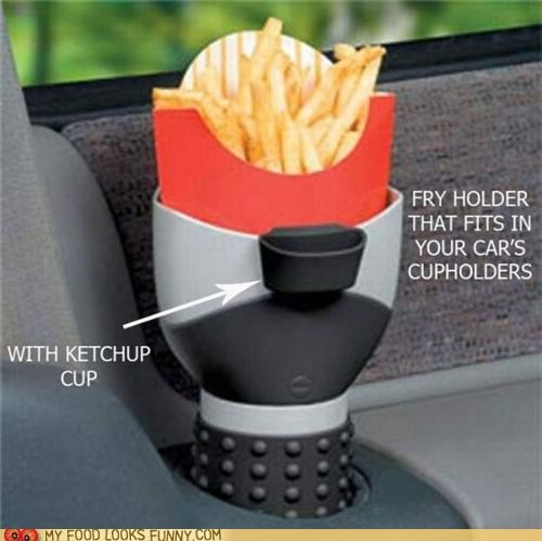 accessory car cupholder driving fries ketchup